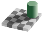 Two squares in a partially-shaded checkerboard look to be different colours, but are not.